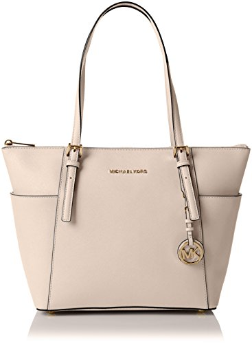 Leather Top Zip Large Tote (MICHAEL Michael Kors Jet Set Large Top-Zip Saffiano Leather Tote, Soft Pink)