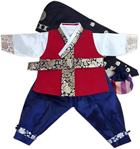Baby Red Korean Hanbok Boy First Birthday Traditional Costumes Party Dohl Dolbok Dress1 Age