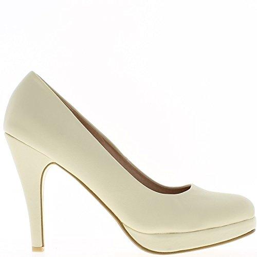 ChaussMoi Zapatos de mujeres grandes tamaño amarillento tacón 12cm y plataforma