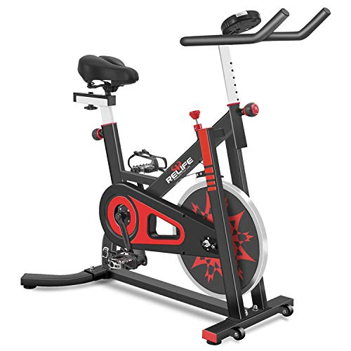 RELIFE REBUILD YOUR LIFE Exercise Bike Indoor Cycling Bike Stationary Bicycle with Resistance Workout Home Gym Cardio…