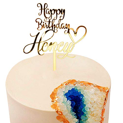 happy birthday my love Cake Toppers Acrylic Glod glitter letters