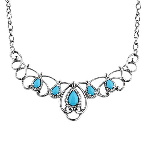Carolyn Pollack Sleeping Beauty Turquoise Scroll Necklace - CP Sleeping Beauty Collection
