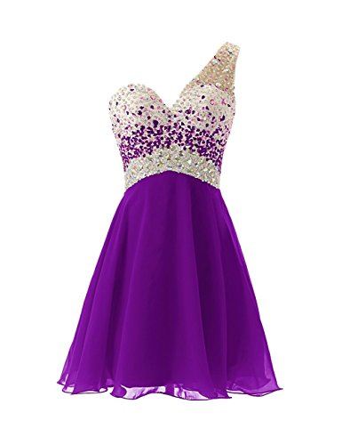 Evening Homecoming One Dress Shoulder Prom Purple Dress BD148 Short BessDress Beadings U6qw4Tw0