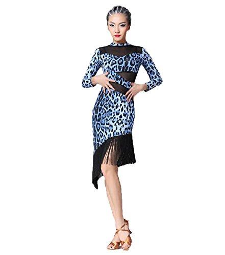 [Latin Dance Dress Tassel Women Tango Salsa Rumba Cha Cha Samba Tango Dance Performance Clothes Competition Costumes Party Stage(Blue] (Swing Jive Costumes)