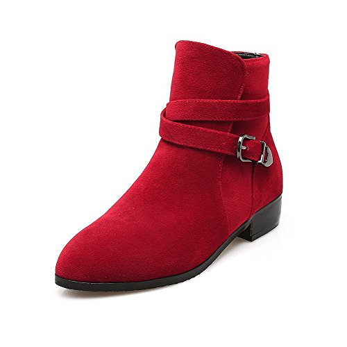Heels Toe Red Women's On Solid Pull Frosted Low Boots Pointed AgooLar x0HCqx1