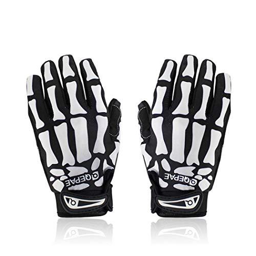 Stimmt Skeleton Gloves Women Men - Durable Skull Gloves Cycling Riding Motorcycle Ski - Finger Bone Skeleton Costume Gloves (White,Medium)