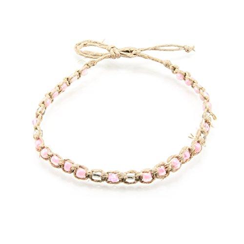 Hemp Anklet Bracelet with Pink Glass Beads
