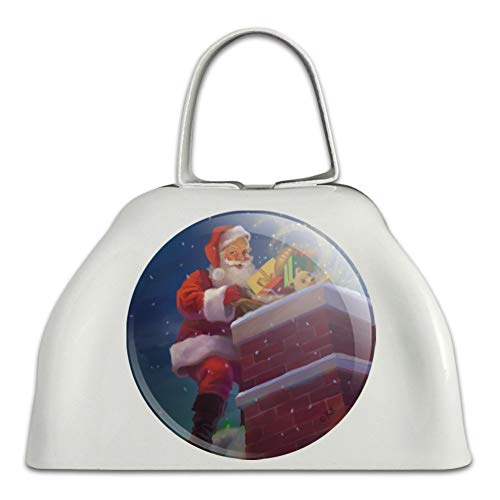 (Christmas Holiday Santa Going Down the Chimney White Metal Cowbell Cow Bell Instrument)