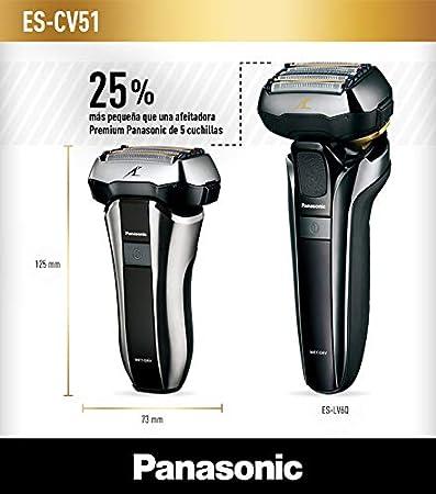 Panasonic ES-CV51-S803 Afeitadora Premium Compacta Eléctrica para Hombre/ Máquina de Afeitar de Láminas para Barba Recargable e Inalámbrica Fabricada en Japón (Motor Lineal,  Wet&Dry, 5 Cuchillas)