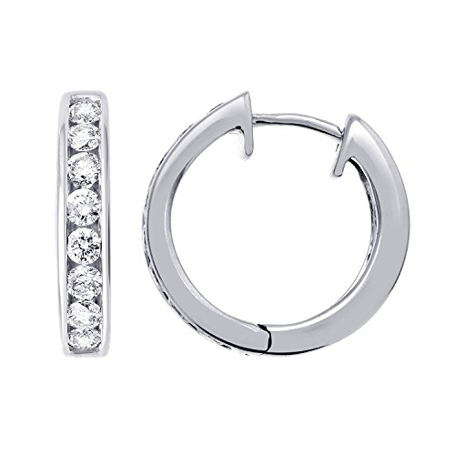 IGI Certified 14k White Gold Hoop Huggies Diamond Earrings (1/2 - White Diamond Gold 14k Hoop