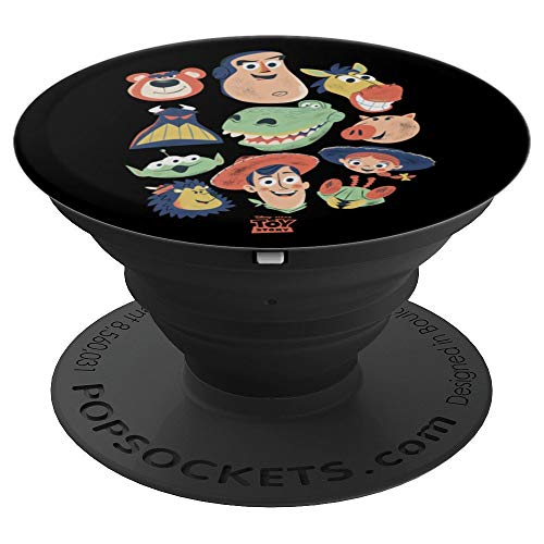 (Disney Pixar Toy Story Woody Buzz Rex and Friends Black - PopSockets Grip and Stand for Phones and Tablets)