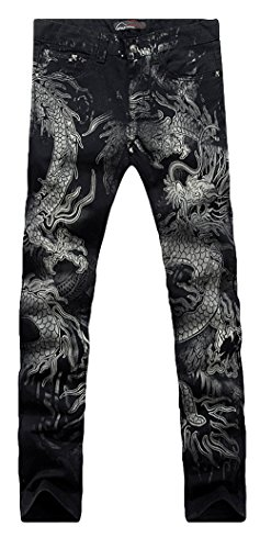 Allonly Men's Black Stylish Casual Slim Fit Stretch Straight Leg Dragon Printed Jeans Pants