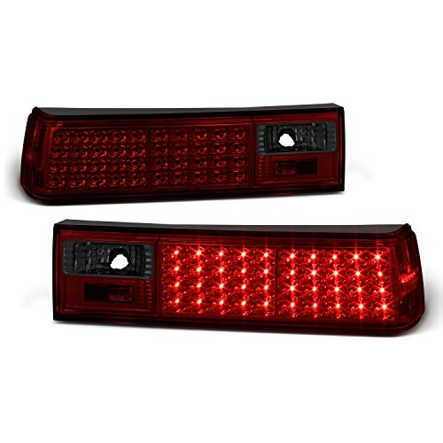 For 1987-1993 Mustang GT LX SVT Cobra Red Smoked Full LED Tail Brake Lamp Left+Right Pair Replacement ()