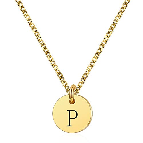 NIBASTAR Initial Necklace for Women 14K Gold Plated Personalized Tiny Necklace Adjustable Round Disc Letter Necklace (P-M)