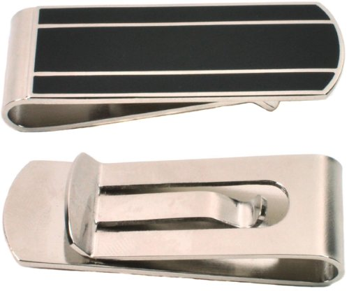 Money Clip - Silver and Black, Men's Slim Card Holder, Cash/Credit Card Wallet