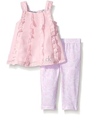 Baby Girls' Chiffon Pink Tunic and Printed Leggings
