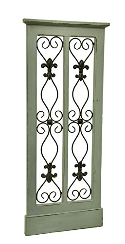 Rustic Grey Wood & Metal Scroll Garden Gate Wall Hanging 42 Inch