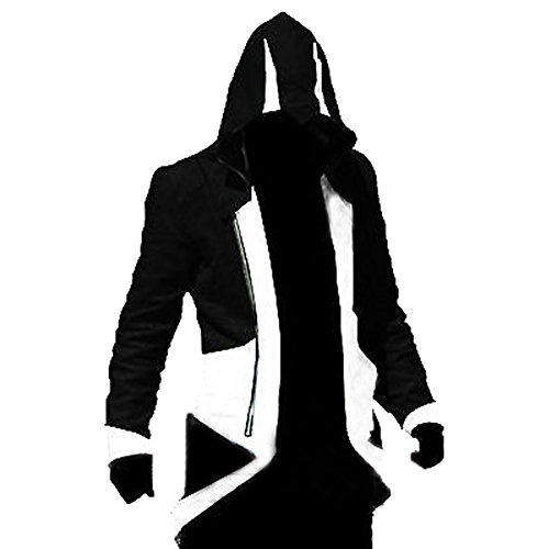 Windbreaker Hoodie Outwear Cosplay Jacket - Perfect Long Sleeves Anime Cosplay Costume for Cosplay Theme Activities,Halloween, Concerts, Theme Parties and Dating (X-Large, Black White)