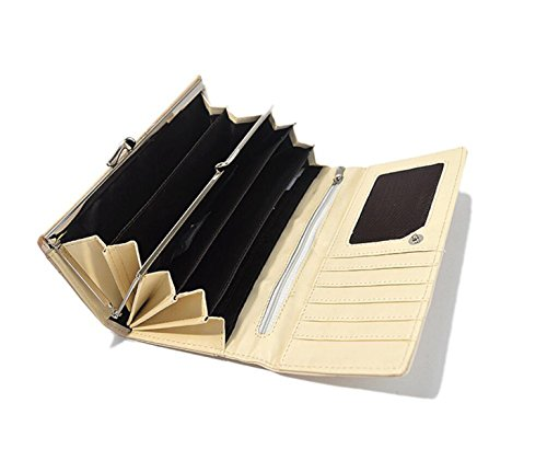 GSHGA Bolso De La Carpeta De Cuero Del Pedacito De La Multi-tarjeta De Las Mujeres Bolso De La Carpeta Del Doble De Lingge Dos,Black White