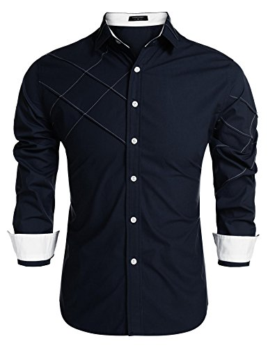 (COOFANDY Men's Business Dress Shirt Slim Fit Long Sleeve Button Down Shirts Dark Blue)