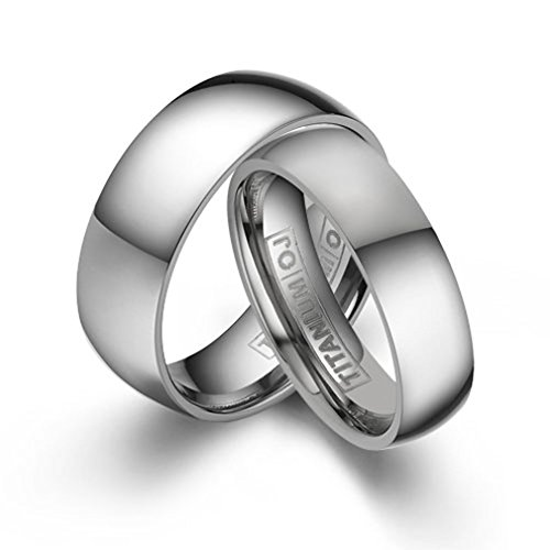 4mm&6mm Matching Titanium Wedding Bands Domed Rings Polish Finish Comfort Fit SZ 5-12 Free Engraving