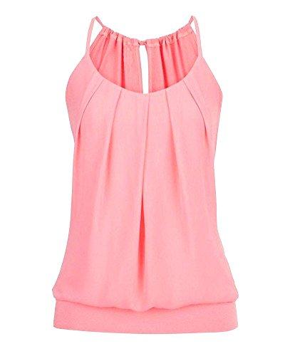 Femme Camisole Dbardeur Chemisier Halterneck U Manches Camisole Rose Top Vest Couleur Crop Neck sans Gilet Pure pAprxRCq