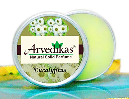 Arvedikas Eucalyptus Natural Solid Perfume Beeswax/Mini Jar/Floral Fragrance/Essential Oil Blend Perfume/Organic Vegan Travel Perfume/Women Aromatic Scent/Pocket Size (4gm each - 0.14oz) - Perfume Solid Cherry Blossom