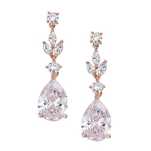 SWEETV Pearl Drop Earrings for Women,Bridesmaids,Brides -Teardrop Crystal Rhinestones Cubic Zirconia Earrings Dangling