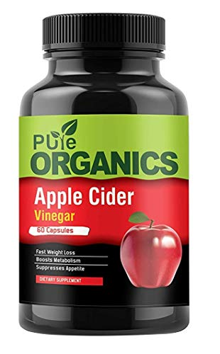 Pure Organics Apple Cider Vinegar Capsules – 60 Count – Extra Strength Appetite Suppressant Pills for Weight Loss – Cleanse & Detox Diet Supplement for Men and Women
