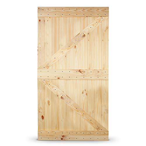 BELLEZE Sliding Barn Door Elegant Natural Pine Wood Panel DIY (42in x 84in) Perfect for Interior Exterior Bedroom, Left Arrow