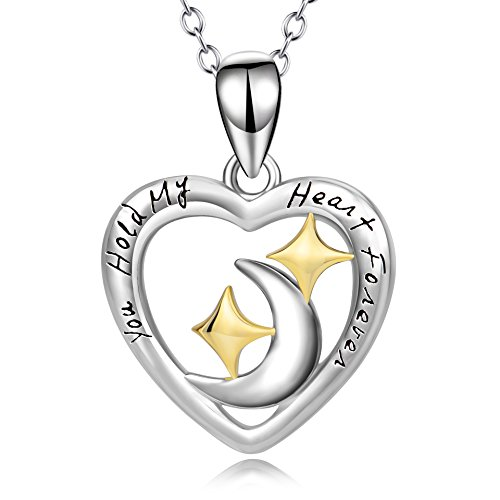 Angel Star Necklace - Angel caller Moon and Star Necklace Sterling Silver Two-tone Heart Pendant Necklace for Women Girls