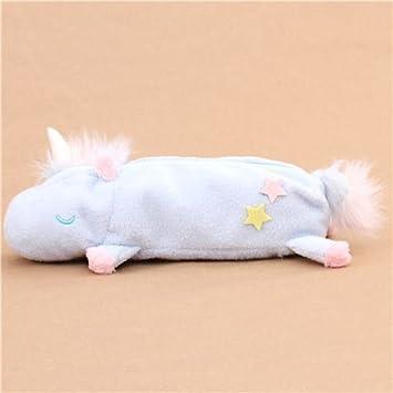 Lindo bolso estuche lápices peluche peludo unicornio azul claro de Japón: Amazon.es: Juguetes y juegos