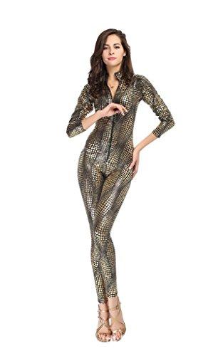 C.X Trendy Women's Sexy Snake Skin Print Catsuit Clubwear Stripper (S, -