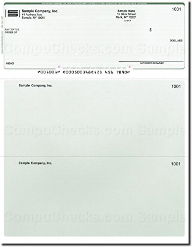 (Computer Checks - 250 Printed Laser Computer Voucher Checks - Green Pinstripe - Compatible for QuickBooks)