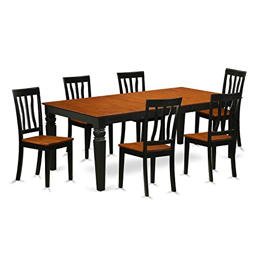 East West Furniture LGAN7-BCH-W 7Piece Dining Room Set with One Logan Table & Six Kitchen Chairs in black & Cherry Finish
