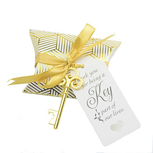 Aokbean 50pcs Wedding Favor Souvenir Gift Set Pillow Candy Box Vintage Skeleton Key Bottle Openers Escort Gift Card Thank You Tag French Ribbon (Gold)