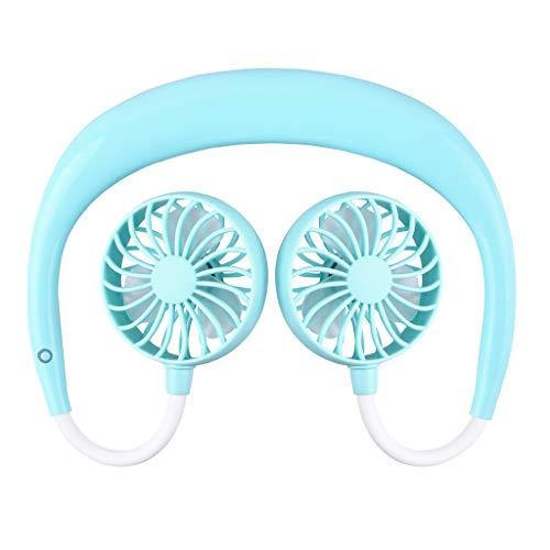 JJLIKER Lanyard Personal Fan - Portable USB Rechargeable Mini Fan Headphone Design Wearable Neckband Fan Necklance Fan Cooler Fan with Dual Wind Head for Traveling Outdoor Sports Running