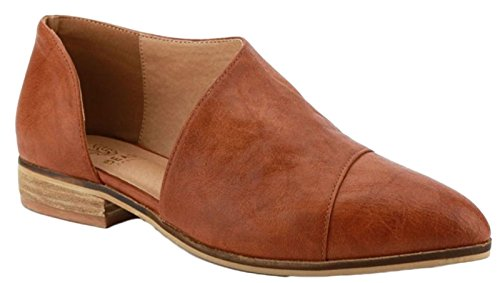 Beast Fashion Carter-05 Women D'Orsay Slip On Pointy Cap Toe Extreme Cut Out Ankle Flat Bootie Cognac (Beast Womens Cap)