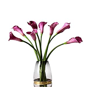 "5pcs Artificial Flowers 21"" PU Mini Calla Lily Bridal Wedding Bouquet Head Latex Real Touch Flower Bouquets 40"