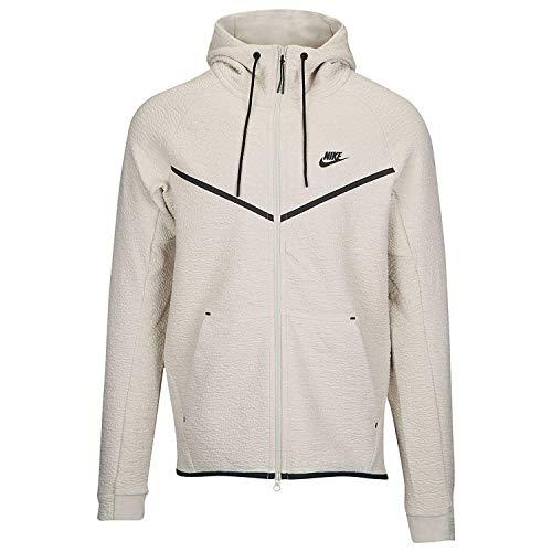 (Nike Mens Tech Fleece Icon Textured Full Zip Windrunner Jacket Light Bone/Black 929121-072 Size X-Large)