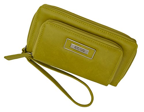Kenneth Cole Reaction Women's Double Zipper Clutch wallet with cellphone holder (Yellow)