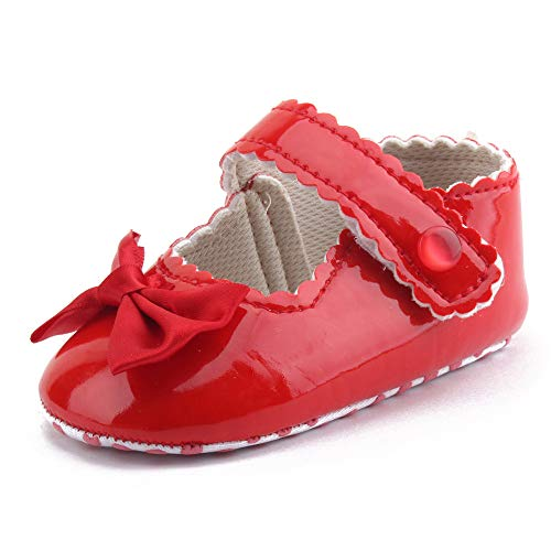Respctful✿Girls' Sandal Soft Soles Mary Jane Flats Non-Slip Toddler First Walkers Crib Shoes Princess Dress Shoes Red