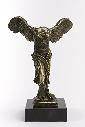 - Handmade Green Oxidation Patina Winged Victory of Samothrace on White and Black Marble Base
