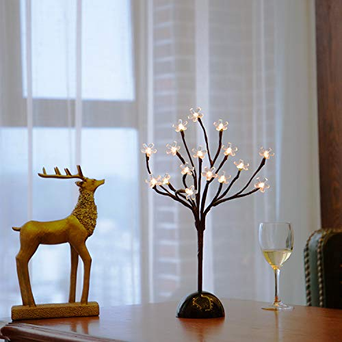 Bolylight LED Cherry Blossom Table Tree Lamp Night Light Centerpiece 14.56 inch 16L Great Decoration for Home/Christmas/Party/Festival/Wedding, Warm White]()
