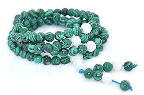 The Art of Cure Healing Jewelry & Mala meditation beads (108 beads on a strand) (man-made malachite)