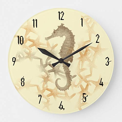(Moonluna Seahorse and Starfish by Julie Everhart Nursery Wooden Wall Clock Battery Operated Roman Numerals Silent Non-Ticking 14 Inches Kids Clock)