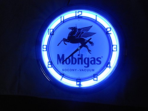 Mobilgas 17 Inch Neon Clock