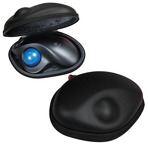 Hermitshell Travel EVA PU Lagerung Tasche Schutz hülle Etui Tragetasche Beutel Compact Größen und karabiner für Logitech M570 Wireless Trackball Mouse Maus