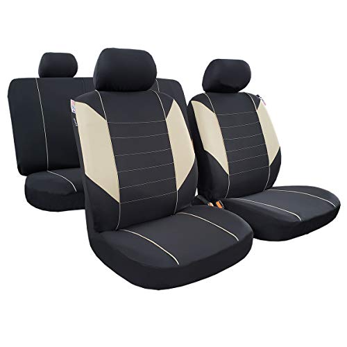 seakomoto Polyester Car Seat Covers, Full Set Full Coverage 5 Detachable Headrest & Split Rear, Universal Auto Seat Protector Low Back Fit Most Car Truck SUV (Beige)