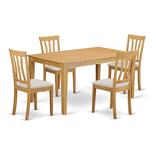 East West Furniture CAAN5-OAK-C 5 Piece Kitchen Dinette Table and 4 Chairs Set